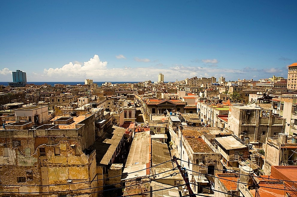A view of Havana's buildings and the sea beyond from one of our casas particulares, Casa Mabel in Centro Habana