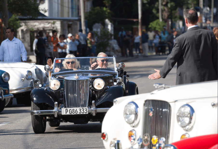 Prince Charles drives a classic car in Cuba - a British MG Series DT Midget 1953