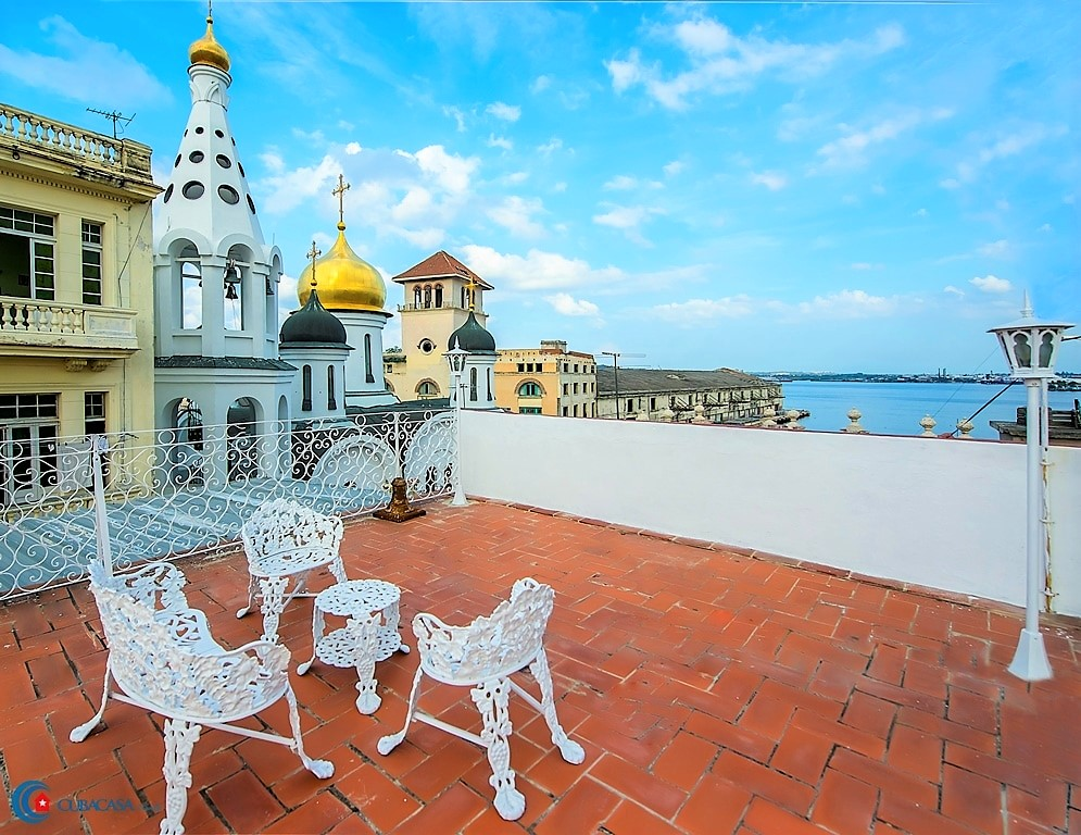 The scenic terrace of a casa particular in Havana