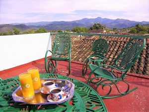Panoramic rooftop terrace of a casa particular in Trinidad, Cuba