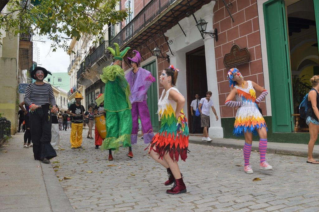 Live puppets on stilts take over Old Havana's cobblestone streets