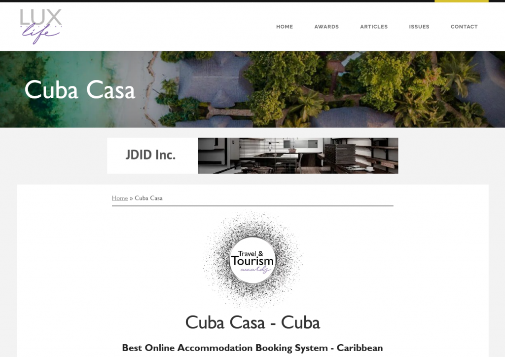 LUXlife Magazine's 2021 Travel and Tourism Awards for CubaCasa as the Best Online Accommodation Booking System - Caribbean.